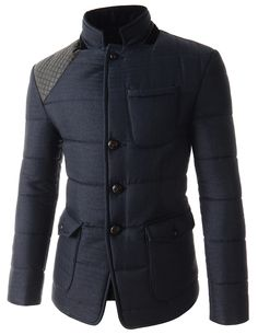 Navy Blue Mock Neck Puffer Winter Jackets for men