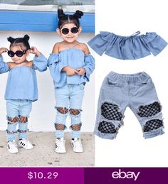 a648a886edd7 US Stock Toddler Kids Baby Girls Off Shoulder Tops Denim Pants Hole Jeans  Outfit