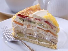 make a crepe cake with fruit and cream between the layers - this looks like pie crust and puff pastry on top
