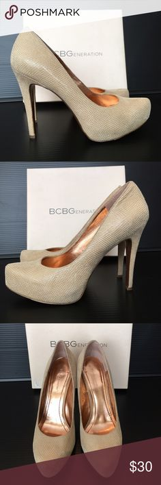 BCBGeneration Parade Platform Pumps Nude snakeskin print. Heel height 4.5 inches, platform height 1 inch. True to size. Box not available. Shoes Platforms