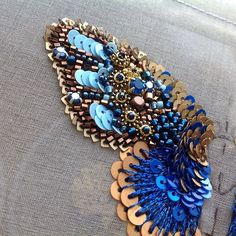 Blue butterfly embroidery ♦F&I♦ Tambour Beading, Tambour Embroidery, Couture Embroidery, Embroidery Fashion, Embroidery Jewelry, Ribbon Embroidery, Beaded Embroidery, Embroidery Patterns, Beaded Brooch