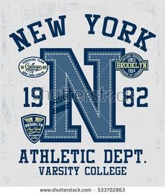 College New York, Brooklyn typography with patches, t-shirt graphics.