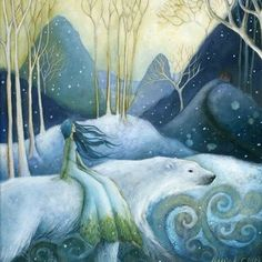 """On the longest night we search for the light, And we find it deep within. Open your eyes to embrace what is wise, And see the light of your own soul shining. Lisa Thiel, """" Winter Solstice Song """" art: Amanda Clark http://i2popupgallery.com/index.php"""