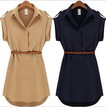 Buy With Belt! 2015 Women Summer Dress Shirt V-Neck Short A-Line Solid Plus Size Chiffon Casual Vestidos For Party Beach Office 8463 in Women's Dresses on AliExpress Casual Day Dresses, Summer Dresses For Women, Dress Summer, Spring Summer, Summer 2015, Elegant Dresses, Summer Time, Outfit Vestidos, Look Fashion