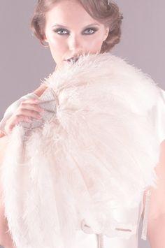 Jessie Ostrich Feather Fan in Ivory, #1920s, #deco, #ostrich, #feather, #fan, #ivory, #bridal, #wedding, #fan