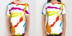 Fresh, colorful and bold Splattered Rainbow [White] T-Shirts by Daniel Bevis on Society6 are fit for Summer fun!  #rainbow #paintball #splat #summerwear #summerfashion #menswear #womenwear #fresh #cool #fun #tshirts #apparel #clothing #fashion #danielbevis #alloverprints