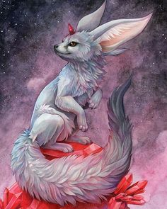 Finished drawing of Carbuncle, colour pencils and watercolour! #fox #pencildrawing #illustration #carbuncle #ffxv #finalfantasy #finalfantasyxv #finalfantasyxvdemo #fennecfox #unicornfox #fennecfox #fennec #watercolor #colorpencil