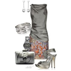 Satin Gray-Rust by shuchiu on Polyvore featuring polyvore, fashion, style, Donna Karan, Proenza Schouler, Loriblu, Franchi, Aqua, Armani Exchange and Swarovski