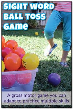 Sight word ball toss game: Get kids moving and having fun while learning with this sight word ball toss game. Plus, you can adapt this activity to work on letters, numbers, shapes, math facts, and more! See how EASY this is to do with just one special type of marker! #handsonlearning || Gift of Curiosity