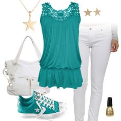 Teal Green Tank Top & White Jeans Outfit with Converse All Stars