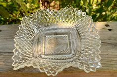 Vintage Indiana Glass Company Clear Diamond Point And Ruffled Edge Candy / Relish Dish Glass Dishes, Candy Dishes, Glass Etching, Etched Glass, Yard Sale Finds, Diamond Point, Indiana Glass, Glass Company, Vintage Glassware
