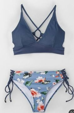 Freshen up your beachside look with the Blue And Floral Lace-Up Bikini. Freshen up your beachside look with the Blue And Floral Lace-Up Bikini. Bathing Suits For Teens, Summer Bathing Suits, Swimsuits For Teens, Cute Bathing Suits, Summer Suits, Cute Swimsuits, Cute Bikinis, Two Piece Swimsuits, Teen Bikinis