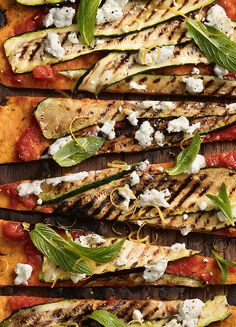 How to make Chargrilled Zucchini, Goat's Cheese & Mint Pizza