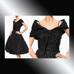 On Ruby Lane - Vintage 1950s Black Taffeta Formal Party Dress, $225