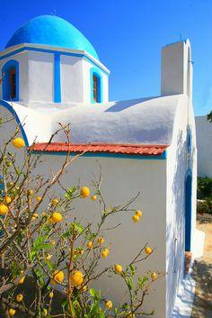 Chapel and lemon tree, Lipsi island,Greece Mykonos, Santorini Villas, Rhodes, Greece Girl, Living In Europe, Chapelle, Greece Travel, Travel Europe, Greek Islands