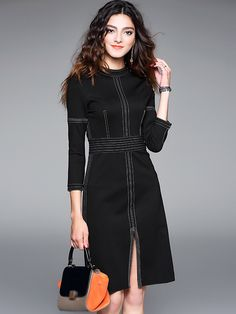 Brief O-Neck Pure Color Split Slim Work Dress; Size: S,M,L,XL; Color: Red; Material: Cotton; Material: Polyester; Style: Brief; Silhouette: Sheath Dresses; Pattern Type: Solid; Decoration: None; Dresses Length: Knee-Length; Sleeve Style: Regular; Sleeve Length: Three Quarter; Waistline: Empire; Neckline: Stand; ; Price: US$ 57.49
