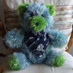 Crocheted 12th Man Sports Football Teddy Bear  Seattle Seahawks Blue & Green NFL #Handmade #SeattleSeahawks