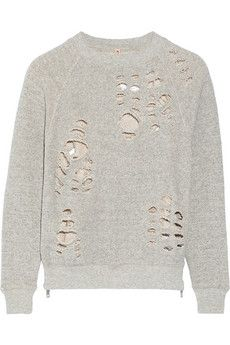 R13 Shredded cotton-jersey sweatshirt   THE OUTNET