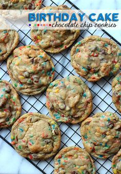 Birthday Cake Chocolate Chip Cookies! So much better than cake! #food