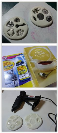 How To Make Your Own Silicone Molds ... using bathroom silicone from the hardware store & talc powder, baking powder or cornstarch.  Use these & hot glue to make jewelry, appliques, etc...