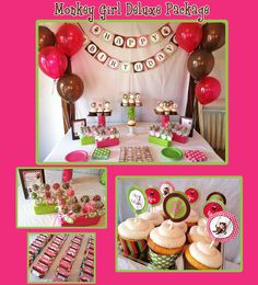 DIY Girl Monkey Birthday Deluxe Collection PRINTABLE Party Package Cupcake toppers Invitation pink green.  GREAT WEBSITE WITH TONS OF DIY PARTY IDEAS!!