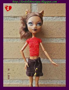 Conjunto hecho a mano para muñecas Monster High: top + falda