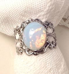 Opal Ring Silver Opal Ring Vintage White Glass by AmoreTreasure
