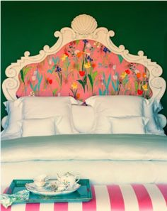 Love this floral headboard