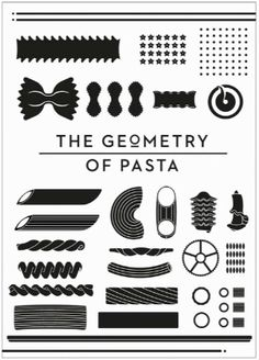 The Geometry of Pasta, by chef Jacob Kennedy with designer Caz Hildebrand. We had a pasta silhouettes assignment in my Graphic Design 101 class strongly reminiscent of this!