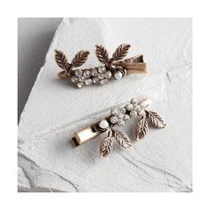 Cost Plus World Market Pearl and Leaf Hair Pins Set of 2 ($9.99) ❤ liked on Polyvore featuring accessories, hair accessories, cost plus world market, pearl hair pins, floral hair accessories, floral hair pins and leaf hair accessories