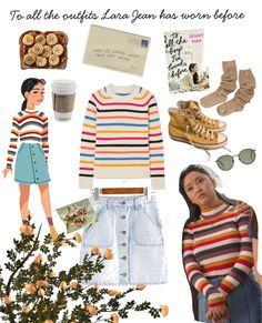 Lara jean Outfit - Lara jean looks - Lara Jean, Jean Outfits, Cute Outfits, Fashion Outfits, Movie Inspired Outfits, Jugend Mode Outfits, Trendy Swimwear, Inspiration Mode, Ripped Denim