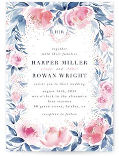 Blush Floral Wedding Invitations - Blush Roses - Monogrammed Watercolor Floral Foil-Pressed Wedding Invitations