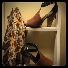 Candies salsa style high heeled strap sandals Similar to a high heeled salsa dancer shoe, but with a city twist. Rich brown and black . Wooden heel. Adjustable ankle strap Candie's Shoes Heels