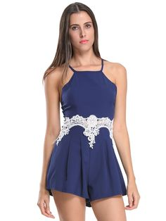 3b6e0b7baeb Choies Sexy Women Blue Purple Pink Halter Crochet Lace Detail Strappy Romper  Pla