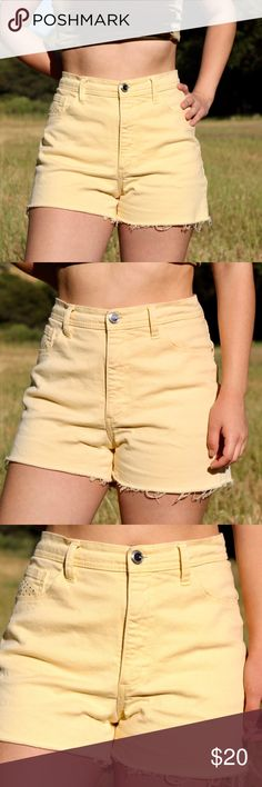 717353a9b1f3 I just added this listing on Poshmark: Vintage Pastel Yellow Cutoff Shorts.  #shopmycloset