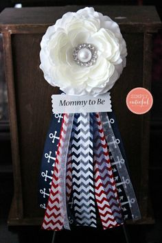 Nautical Corsage Baby Boy Corsage baby Shower Nautical Chevron Navy Corsage. Mommy to Be Badge Pin. Future Mom Corsage Pin Bagde Brooch Clip