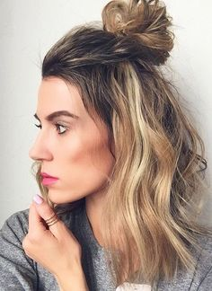 Shoulder length cut with 1/2 bun - great hairstyle for medium length hair!