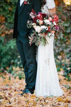 dark navy suits and bouquet with the fall leaves, fall wedding, autumn wedding, fall wedding flowers, fall bouquet