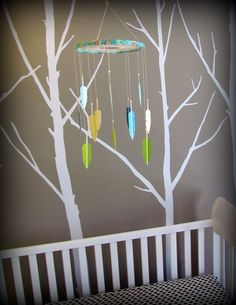 Dream Catcher Mobile - paint swatch mobile - feather mobile - modern - turquoise, yellow, green.