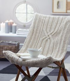Chaise-pull Knit Chair ~ Inspiration! ....wonder if I could do something like this on that ugly Ikea chair in the basement.....