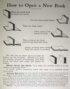 Vintage guide on how to open a new print book