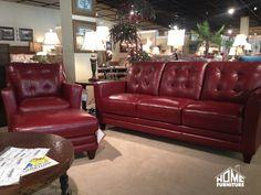 La Z Boy Sofa With Chair U0026 Ottoman In A Cherry Red Top Grain
