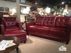 La Z Boy Sofa With Chair Ottoman In A Cherry Red Top Grain