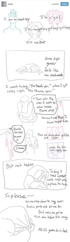 This drawing that shows how exhausting gender performance can be: | 23 Times Tumblr Cleverly Explained What Being Genderqueer Means
