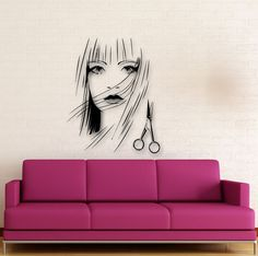 Details about Wall Stickers Vinyl Decal Beautiful Girl Scissors Hairdresser Hairstyle Nail Salon Decor, Hair Salon Interior, Beauty Salon Decor, Interior Design Dubai, Interior Design Pictures, Interior Design Software, Wall Stickers, Wall Decals, Vinyl Decals