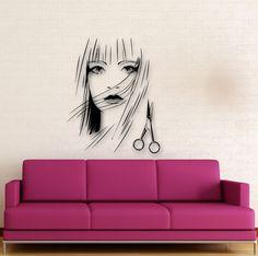 Wall Stickers Vinyl Decal Beautiful Girl Scissors Hairdresser Hairstyle (ig1733) | Home & Garden, Home Décor, Decals, Stickers & Vinyl Art | eBay!