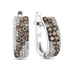 Серьги с 70 бриллиантами, 0.20 карат;28 коньячных бриллиантов;Белое золото 585 пробы.