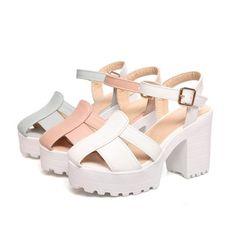27d30ff858a Unique Open Style Platform Sandals Stylish Sandals