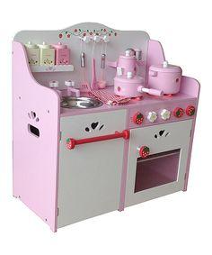 Loving this My Strawberry Wood Play Kitchen on #zulily! #zulilyfinds