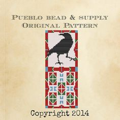 Raven Peyote Amulet Bag Seed Bead Pattern by PuebloBeadandSupply